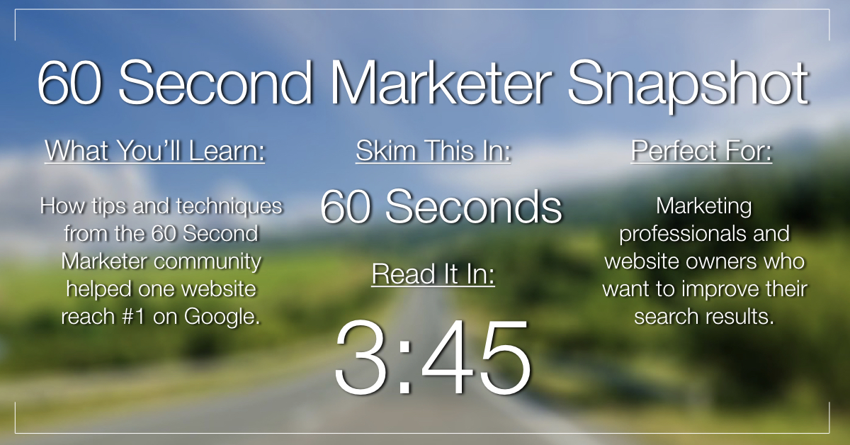 How the 60 Second Marketer Community Helped Us Reach #1 on Google