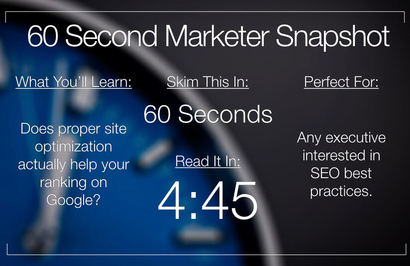 How much does Google really care about site optimization?